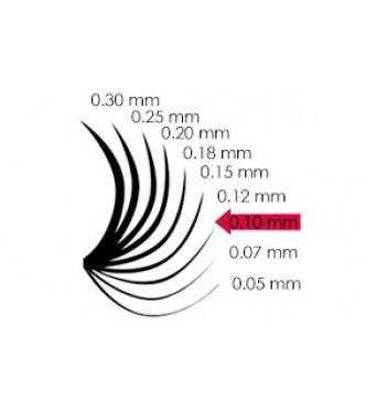 11mm x 0.10, D curl, 6 soros színes pilla - KÉK