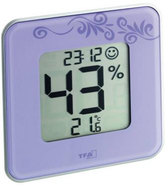 Digitális hőmérő, páratartalom mérő, lila